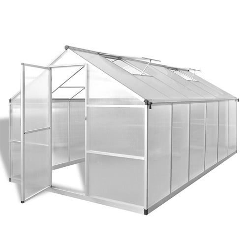 Reinforced Aluminium Greenhouse with Base Frame 9.025 m2
