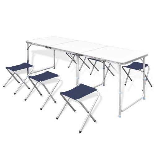 Camping Pliable Table Set avec 6 tabourets Hauteur 180x60cm Réglable