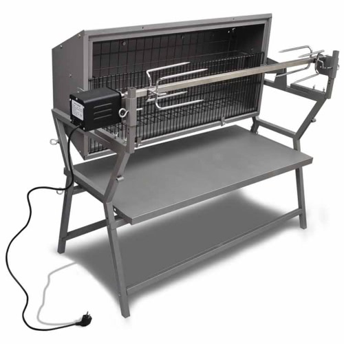 Iron and Stainless Steel BBQ Rotisserie Spit