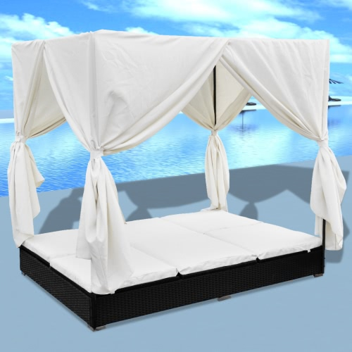 Luxury Outdoor Black Poly Rattan Sun Lounger 2 Persons with Curtain