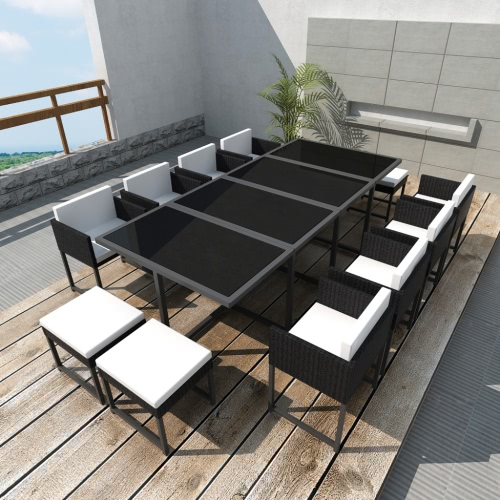 Black Poly Rattan Outdoor 12 Person Dining Set