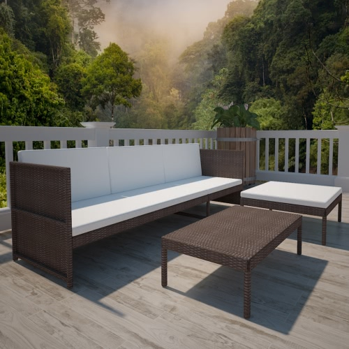 Браун Открытый Поли Ротанг трехместная Lounge Set