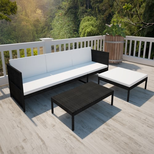 Black Outdoor Poly Rattan Three-Seater Lounge Set