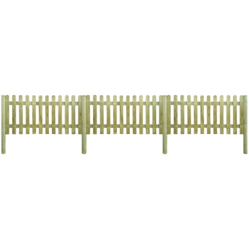 6 m Picket Fence with Posts 100 cm High Wood