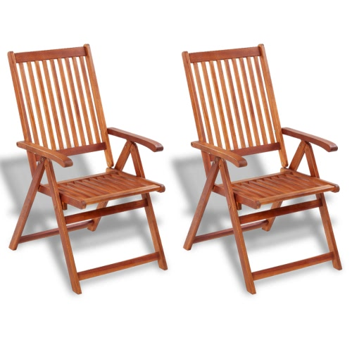 2 pcs Wood Folding Chair with 5 Positions