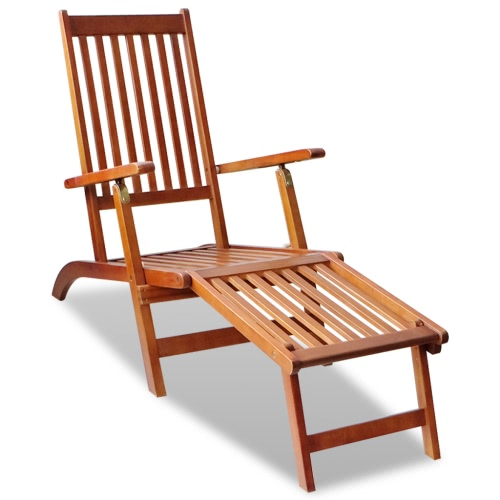Outdoor Deck Chair with Footrest Acacia Wood