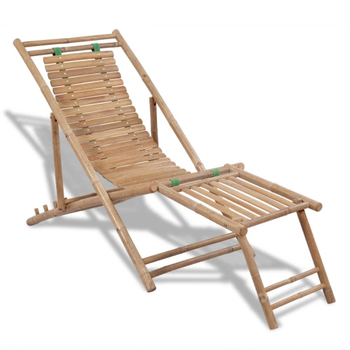 Bamboo Deck Chair with Footrest