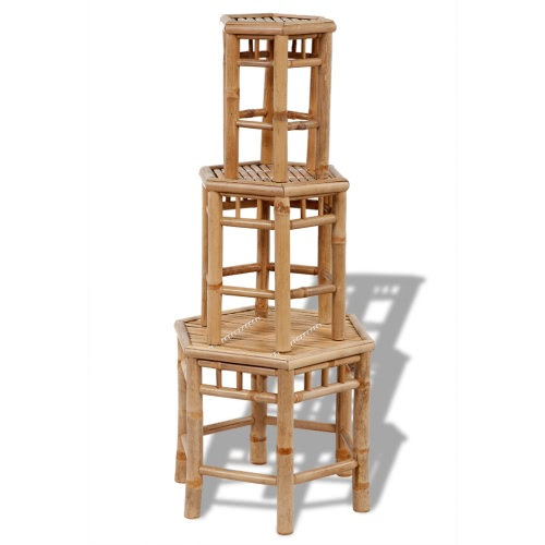 3 pcs Hexagonal Bamboo Tabouret Set