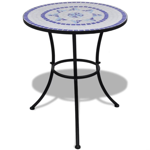 Mosaic Table 60 cm Blue / White