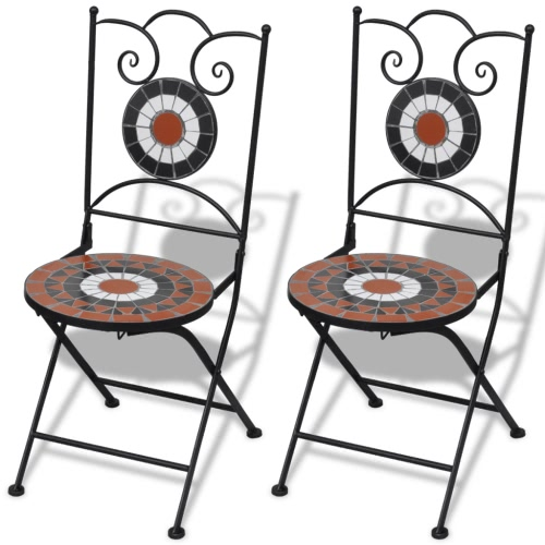 Mosaic Bistro Chair Terracotta / White Set of 2