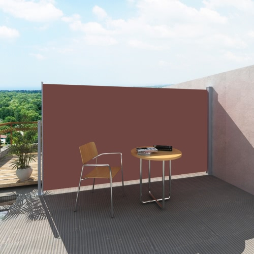 Patio Retractable Side Awning 180 x 300 cm Brown