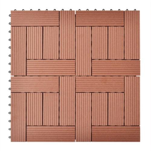 Brown 11 PC 30 x 30 cm Decking Tiles WPC 1 m²