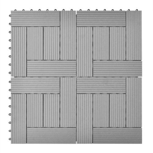 Grey 11 pcs 30 x 30 cm Decking Tiles WPC 1 sqm