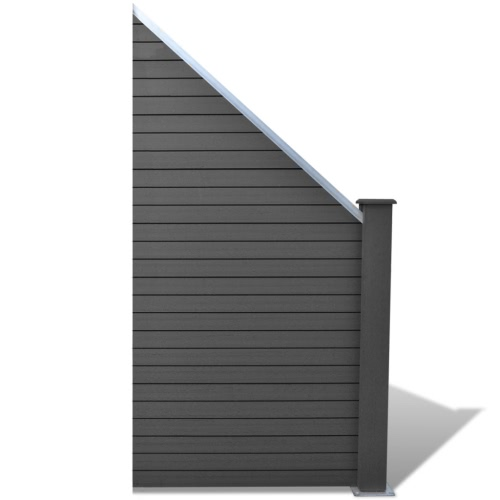 Slanted WPC Garden Fence Panel Grey