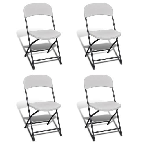Pieghevole Garden Chair Set di 4 HDPE bianco