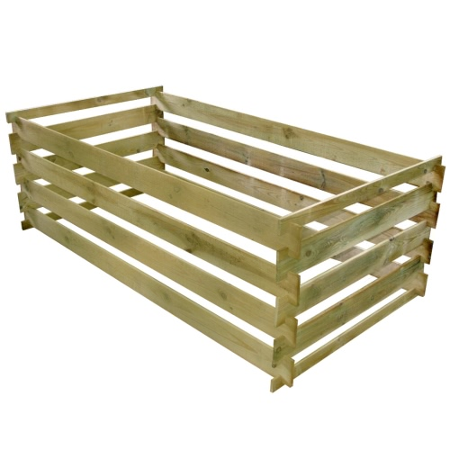 Rectangular Slatted Wooden Compost Bin 0.77 m3
