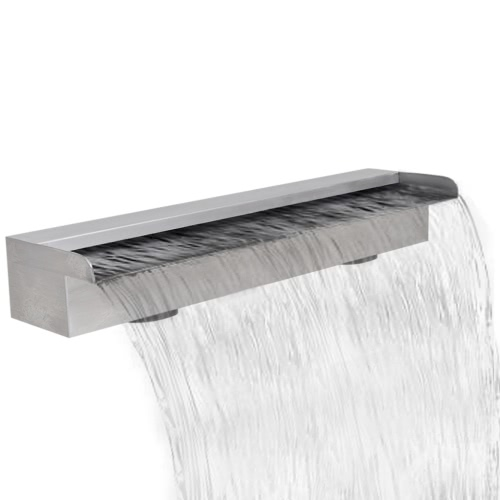 Rectangular Waterfall Pool Fountain Stainless Steel 23.6