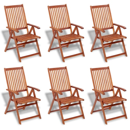 Wooden Outdoor Dining Set 6 Adjustable Chairs + 1 Oval Table