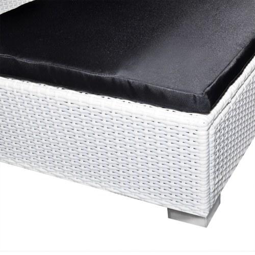 24 pezzi mobili da giardino Set Poly Rattan Bianco