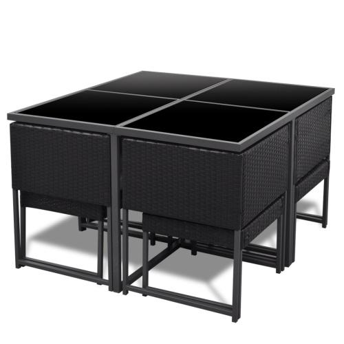 21 pezzi Outdoor Dining Set nero Poly Rattan