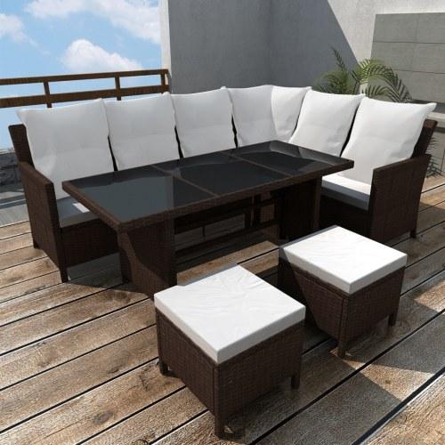 16 pezzi Outdoor Lounge Set Brown Poly Rattan