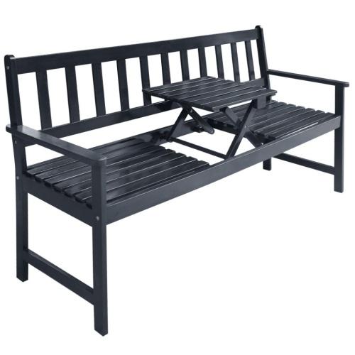 Garden Bench с всплывающим столом Acacia Wood Grey