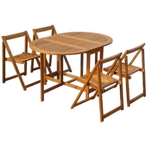5 шт. Открытый складной обеденный комплект Acacia Wood