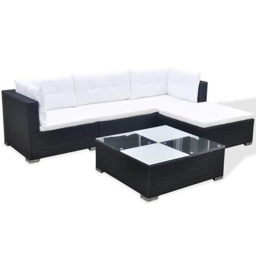 14 Piece Garden Sofa Set Poly Rattan Black (только для Великобритании / IE / FI / NO)