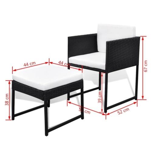 33 шт. Набор для наружного обеденного стола Black Poly Rattan (только для Великобритании / IE / FI / NO)