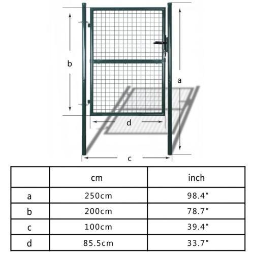 Barrière de clôture de jardin 85.5x200 cm / 100x250 cm Acier Vert