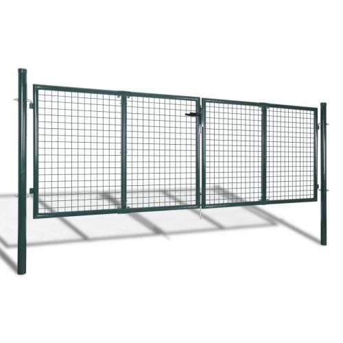 Garden Fence Gate 289x125 cm / 306x175 cm Verde acciaio
