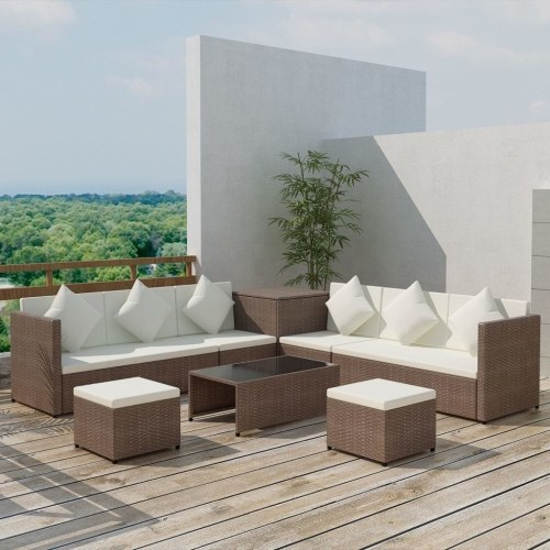 garden sofa set 26 pieces poly rattan brown