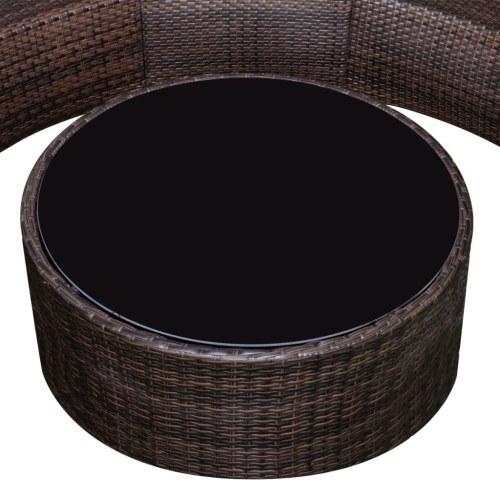 Садовый полукруглый диван Набор Poly Rattan Brown (только для Великобритании / NO / IE / FI)