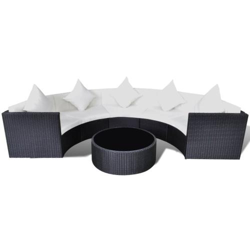 Садовый полукруглый диван Комплект Poly Rattan Black (только для Великобритании / NO / IE / FI)