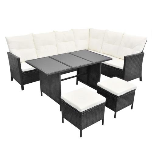 Set divano da giardino 19 pezzi Poly Rattan Black (solo UK / IE / FI / NO)