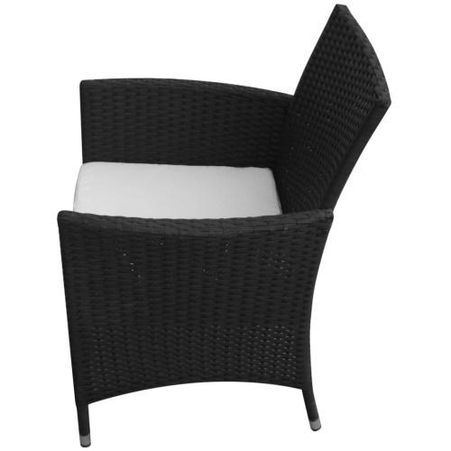 Девять штук Комплект садовой мебели Poly Rattan Black