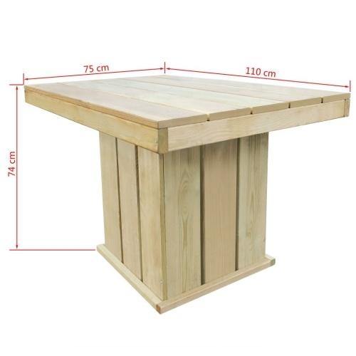 Juego de mesa y silla para comedor, 4 piezas, al aire libre, pino ...