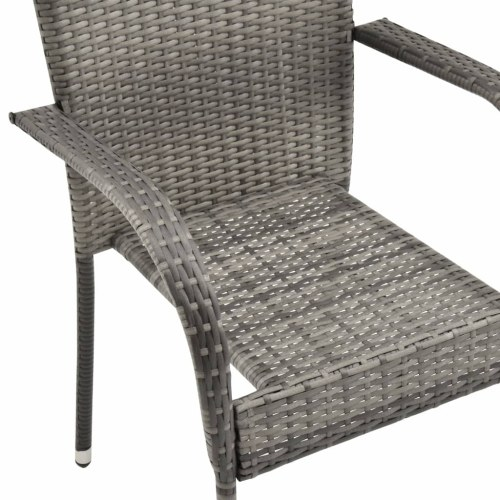 Festnight Stackable Garden Chairs Breakfast Dining Chairs Garden Rest Chairs 2 pcs Grey Poly Rattan
