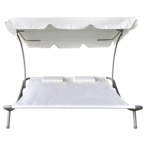 Bain de Soleil avec 1 auvent et 2 oreillers Blanc crème
