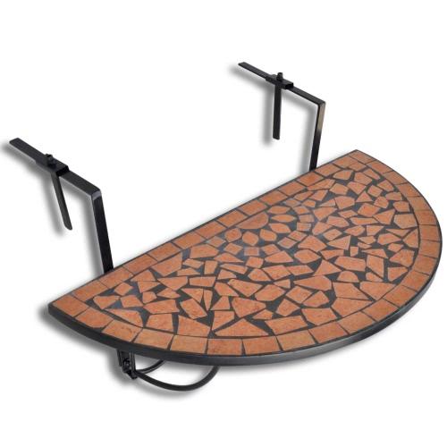 Table de balcon suspendue Demi-circulaire Terre cuite