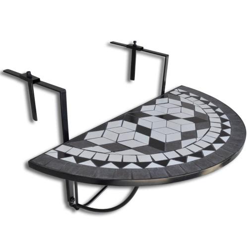 Table de balcon suspendue Demi-circulaire Noir et Blanc