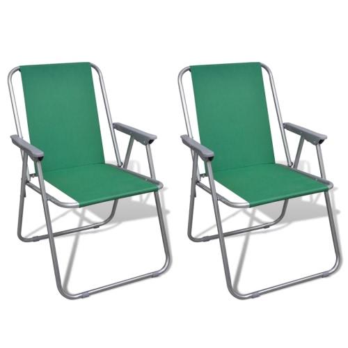 2 Chaises Pliantes Vertes pour le Camping en Plein Air