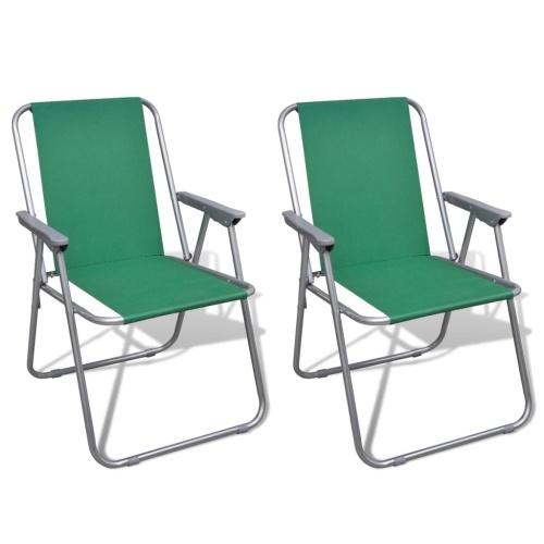 Lot de 2 chaises de camping pliantes - coloris vert