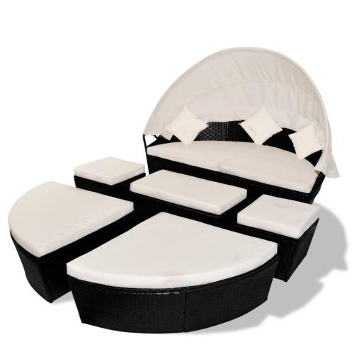 Salon de jardin/bain de soleil noir 2 en 1 en polyrotin avec dais