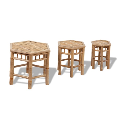 3 tabourets hexagonaux en bambou
