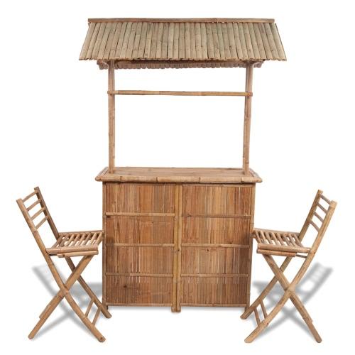 Ensemble bar et tabourets en bambou