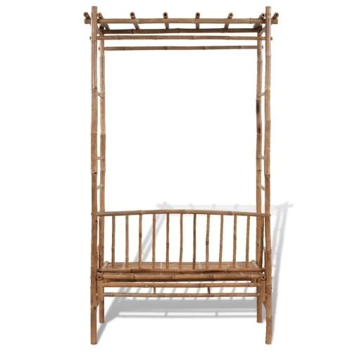 Arche de jardin avec banc en bambou