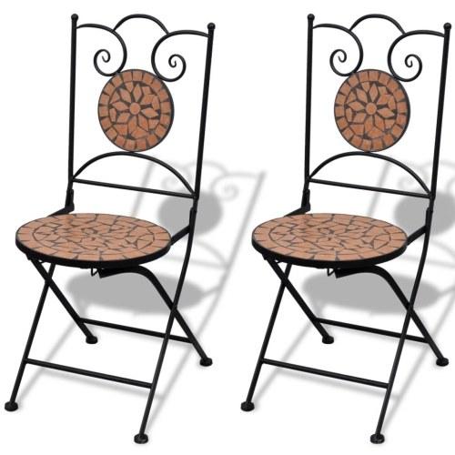 2 chaises mosaïque en terre cuite