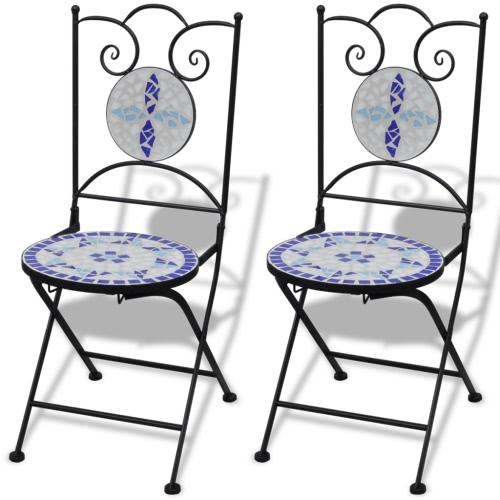 2 chaises en mosaïque bleu / blanc