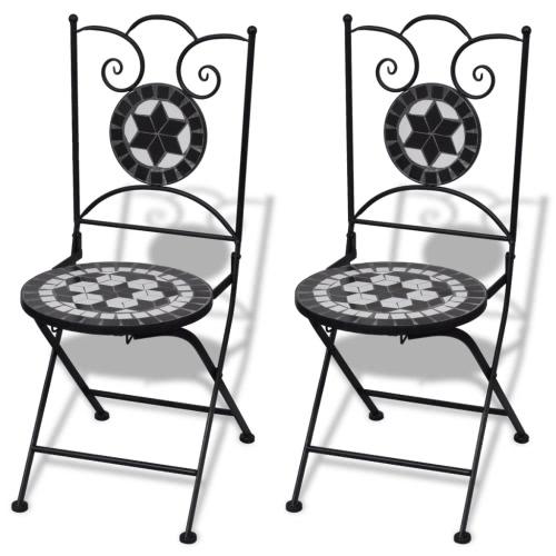 Jeu de 2 chaises mosaïques de bistro noire / blanche